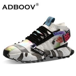 ADBOOV High Fashion Sneakers Men Knit Upper Breathable Men Casual Shoes Chunky Sneakers Trainers