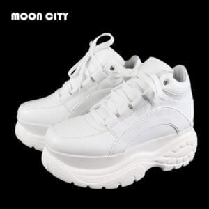 Women Platform Sneakers Leather Casual Ladies Chunky Shoes 2021 White Woman High Black Fashion Brand Thick Soled Wedge Sneakers